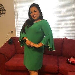 MSK Rhinestone trim bell sleeve dress in green